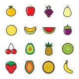 Fruits Icons. Set of 16 Fruits Icons royalty free illustration