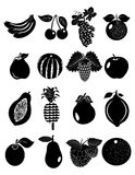 Fruits icons set Royalty Free Stock Photography