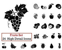 24 Fruits Icons. Set of 24 Fruits Icons in Black Color Stock Photos