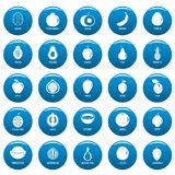 Fruits vector icons set blue, simple style. Fruits icons set blue. Simpe illustration of 25 fruits vector icons for web Royalty Free Stock Photo