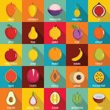 Fruits icons set, flat style. Fruits icons set. Flat illustration of 25 fruits vector icons for web Royalty Free Stock Image