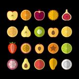 Fruits  icons set. Flat style, vector illustration. Fruits and berries icons set. Flat style, vector illustration Royalty Free Stock Photography