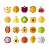 Fruits  icons set. Flat style, vector illustration. Fruits and berries icons set. Flat style, vector illustration. Vector Stock Image