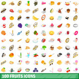 100 fruits icons set, isometric 3d style. 100 fruits icons set in isometric 3d style for any design vector illustration Stock Photography