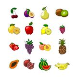 Fruits icons set Royalty Free Stock Photos