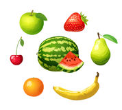 Fruits icons set Stock Photography