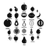 Fruits icons set, simple style. Fruits icons set. Simpe illustration of 25 fruits vector icons for web Royalty Free Stock Photo