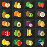 Fruits icons set vector Stock Photos