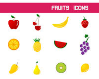 Fruits Icons Vector Illustration Stock Photo