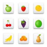 Fruits icons, web buttons Stock Photo