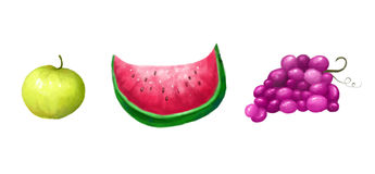 Fruits. Illustration of a colorful bright tasty fruits set Stock Photography