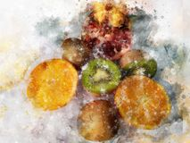 Fruits illustration with splash watercolor textured background. unusual illustration watercolor. royalty free illustration