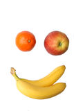 Fruits imitating a smiling face. Stock Photo
