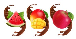 Fruits In Chocolate Splash. Realistic Set With Mango, Apple. Watermelon Stock Photography