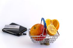 Free Fruits In The Shopping Basket. Increase In Fruit Prices. Financial Crisis, Inflation Stock Image - 178412401