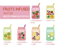 Fruits infused water Royalty Free Stock Photo