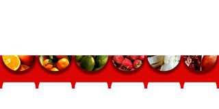 Fruits inside six semicircles placed on a red fringed ribbon Stock Images