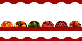 Fruits inside six semicircles on white background with curly frame vector illustration