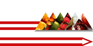Fruits inside six triangles bound by an abstract arrow shaped ribbon Royalty Free Stock Photos