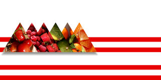 Fruits inside six triangles bound by two red parallel ribbons Stock Photography