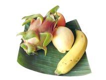 Fruits. Isolated fruits on banana leaf Royalty Free Stock Photo