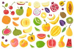 Fruits isolated. Cherry orange peach plum banana melon lime colorful fruit. Natural vegan food cartoon vector set. Fruits isolated. Cherry orange peach plum stock illustration