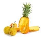 Fruits isolated on white background. Fruits isolated on a white background, apples pears, pineapple and orange Stock Photos