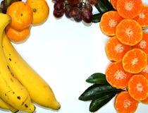 Fruits  Isolated on white background. Grape ,Orange and banana on white background Stock Photography