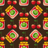 Fruits jam-12. Jam jar with cherry isolated on dark background. Seamless pattern. Design element for wrapping paper or fabric Stock Image