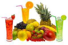 Fruits and juice Stock Images