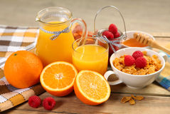 Fruits and juice. Fresh orange juice and ripe fruits Royalty Free Stock Photos