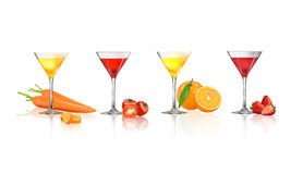 Fruits juice. Fresh juice from fruits and vegetables, Strawberry, Orange, Tomato and Carrot in a glass isolated on a white background, vector illustration Stock Photography