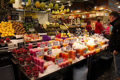 Fruits juice at market,Barcelona Royalty Free Stock Photography