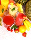 Fruits juice with strawberry, raspberries and banana Stock Photo