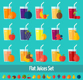 Fruits juices flat icons set. Stock Photos
