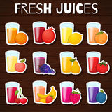 Fruits juices icons set. Royalty Free Stock Images