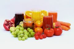 Fruits and juices Royalty Free Stock Photos