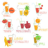Fruits juices set Stock Photography