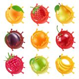 Fruits in juicy splashes. Vector realistic pictures of fresh fruits for labels designs stock illustration