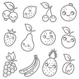 Fruits in kawaii style Royalty Free Stock Photo