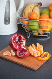 Fruits on the kitchen table royalty free stock photography