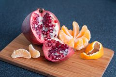 Fruits on the kitchen table stock photos