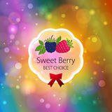 Fruits Label on Bright Abstract Bokeh Background Stock Photos