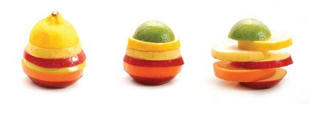 Fruits layers. Layers made by different fruits, like lemon, lime, orange, apple, peach, nectarine Royalty Free Stock Images