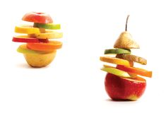 Fruits layers. Layers made by different fruits like lemon, lime, orange, apple, peach, nectarine, pear, kiwi Royalty Free Stock Images