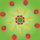 Fruits layers. First layer are cherries, second layer are  bananas and third layer are tomatoes Stock Image