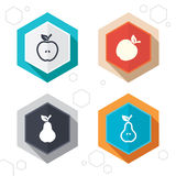 Fruits with leaf icons. Apple and Pear Royalty Free Stock Photos