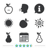 Fruits with leaf icons. Apple and Pear. Stock Photos