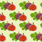 Fruits and leaves of fig. Seamless texture of the fruits and leaves of fig. It is used as the background Royalty Free Stock Photography