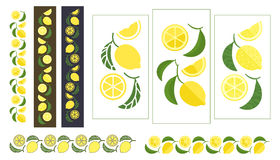 Fruits of lemon and leaves colored ornament Stock Photos